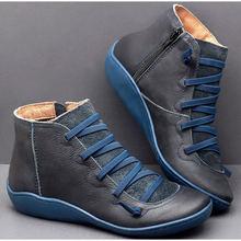 Kadın yarım çizmeler PU Zip Vintage bayanlar düz çapraz kadın ayakkabı kadın rahat kadın kısa peluş 2019 sonbahar kış Botas mujer(China)