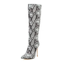 WETKISS Luipaard Sexy Laarzen Vrouwen Hoge Hakken Snake Skin Boot Vrouwelijke Knie Hoge Schoenen Dames Partij Wees Teen Schoenen Grote maat 48(China)