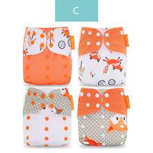 Happyflute 2019 nuevo 4 unids/set pañal de tela lavable ajustable pañales de tela reutilizables disponibles 0-2años 3-15kg bebé(China)