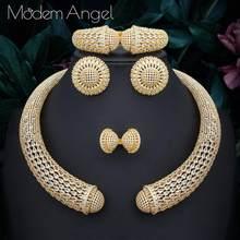 ModemAngel Berühmte Marke Disc Luxus Nigerian Hochzeit Braut Zirkonia Halskette Dubai 4PCS Schmuck Set Schmuck Sucht(China)