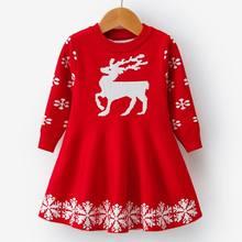 Детские платья для девочек с длинными рукавами; Платье с принтом оленя и снежинки; новогодний костюм; платье принцессы; детская Рождественс...(China)