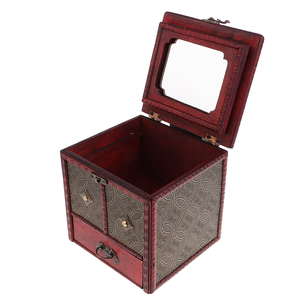 Antique Jewelry Box Woman Girls Jewelry Display Organizer Mirror Storage Box