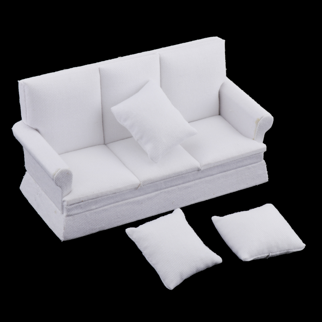 1:12 Dollhouse Furniture Sofa Couch & 3 Pillows Handmade Doll House Living Room Furnishings Crafts Supplies, Kids Play Toy Gift