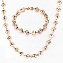 585 רוז זהב 6/8/10mm חרוז שרשרת שרשרת צמיד סט לנשים בנות לובסטר אבזם חתונה אלגנטי תכשיטי מתנה CSM02(Hong Kong,China)