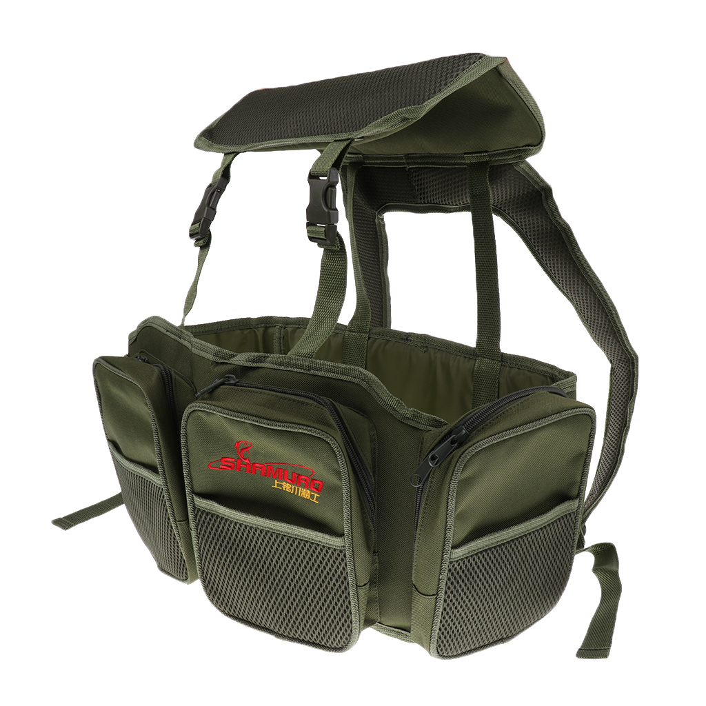 Fishing Seat Box with Harness Rucksack Converter Seat Box Backpack Army Green