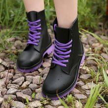 Nữ Giày Đi Mưa Chống Thấm Nước Giày Dép Người Phụ Nữ Giày Cao Su Phối Ren NHỰA PVC Giày Bốt Martin May Chắc Chắn Thời Trang giày Đi Mưa(China)