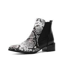 Morazora 2020 Hàng Mới Về Nữ Mắt Cá Chân Giày Loài Rắn Mũi Nhọn Thấp Gót Giày Mùa Thu Đông Giày Chelsea Boot Nữ(China)