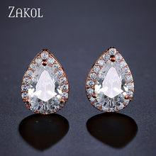 Zakol Nigeria Trắng Giọt Nước Bộ Trang Sức Thời Trang Giọt Nước Đính Đá Cubic Zirconia Trang Sức Nữ Phù Dâu Đính Hôn FSSP267(China)