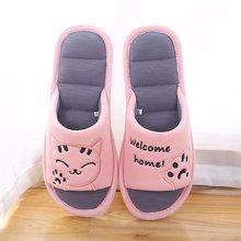 Phụ Nữ Mềm Mại Nhà Flat Cat Dép Bông Giữ Ấm Mùa Đông Người Phụ Nữ Nhà Thời Trang Giày Tầng Thoải Mái Nữ Cặp Đôi Phong Cách Trong Nhà(China)