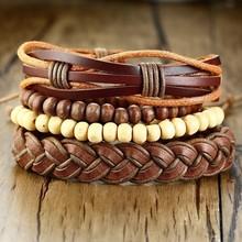 Vnox 4 יח'\סט קלוע לעטוף צמידי עור לגברים בציר חיים עץ הגה קסם עץ חרוזים אתני שבטי Wristbands(China)