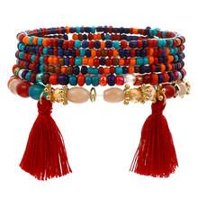 3-4 Pcs/set Fashion BoHo Gelang & Gelang Wanita Batu Manik-manik Gelang dengan Warna-warni Permata Panjang Gelang untuk Wanita(China)