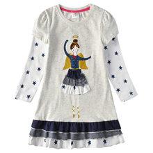 Хлопковое детское платье VIKITA, платье для девочки, детская одежда с длинным рукавом, платье составного кроя, платье с персонажами мультфильм...(China)