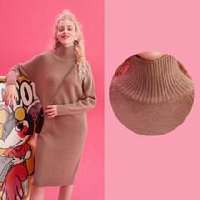 ELFSACK ססגוניות מוצק מינימליסטי סגנון לסרוג שמלת נשים 2020 חורף קוריאני קו טהור ארוך שרוול רופף נשי יומי שמלות(China)