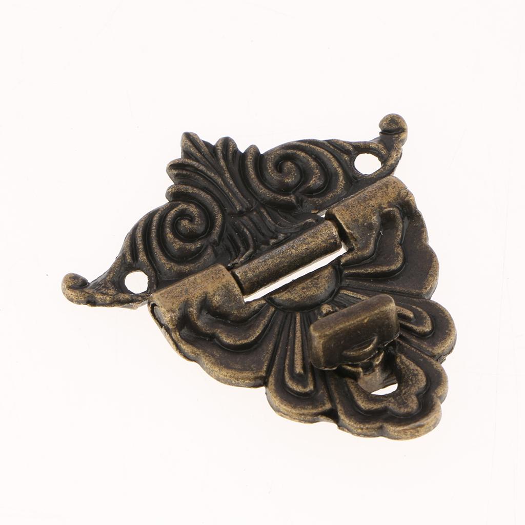 6 Sets Box Suitcase Hasp Latch Buckles Wooden Box Lock Bronze Tone Home DIY Antique Lock