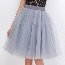 5 couches 60cm Midi Tulle Jupe princesse femmes adulte Tutu mode vêtements Faldas Saia Femininas Jupe Style d'été(China)