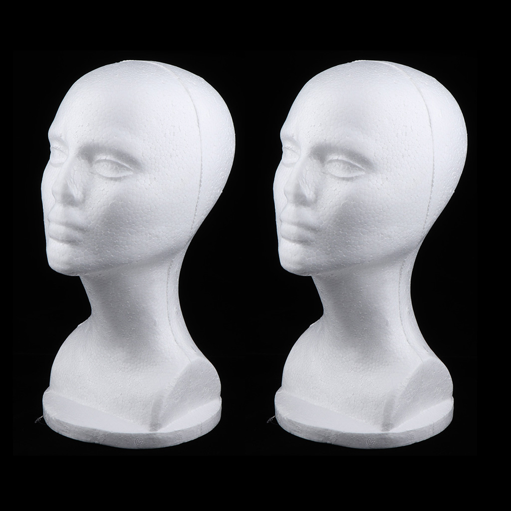Pack of 2 Female Foam Mannequin Head For Wig Making Display Stand Hat Holder Organizer Rack - White