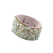 2019 Batu Gelang untuk Wanita Bungkus Manset Memuaskan Kulit Gelang dengan Crystal Rhinestone Pasangan Alam Gelang Perhiasan(China)