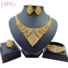 African Women Big Necklace Charm Women Jewelry Sets Crystal Earrings Ring Classic Wedding Fashion Jewelry Set for Bride(China)