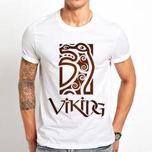 ויקינג figurehead הטוטמים מצחיק t חולצה גברים קיץ חדש לבן מזדמן homme מגניב בציר סמל tshirt(China)