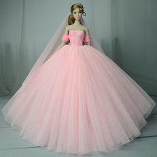 5pcs איכות בובת שמלת פורמליות ללבוש שמלת טוטו בעבודת יד 29CM נסיכת 1/6 בובת כלה טול צבעים בוהקים חתונה שמלות(China)
