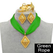 Anniyo DIY Seil Äthiopischen Schmuck set Anhänger Halsketten Ohrringe Armreif Ring Gold Farbe Eritrea Habesha Schmuck Sets #218406(China)