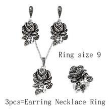 Kinel אופנה כסף צבע וינטג תכשיטי חתונת סט שחור קריסטל רוז פרח טבעת תכשיטי סטים לנשים מפלגה מתנות(China)