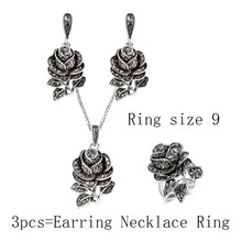Kinel אופנה כסף וינטג תכשיטי חתונת סט שחור קריסטל רוז פרח טבעת תכשיטי סטים לנשים מפלגה מתנות(China)