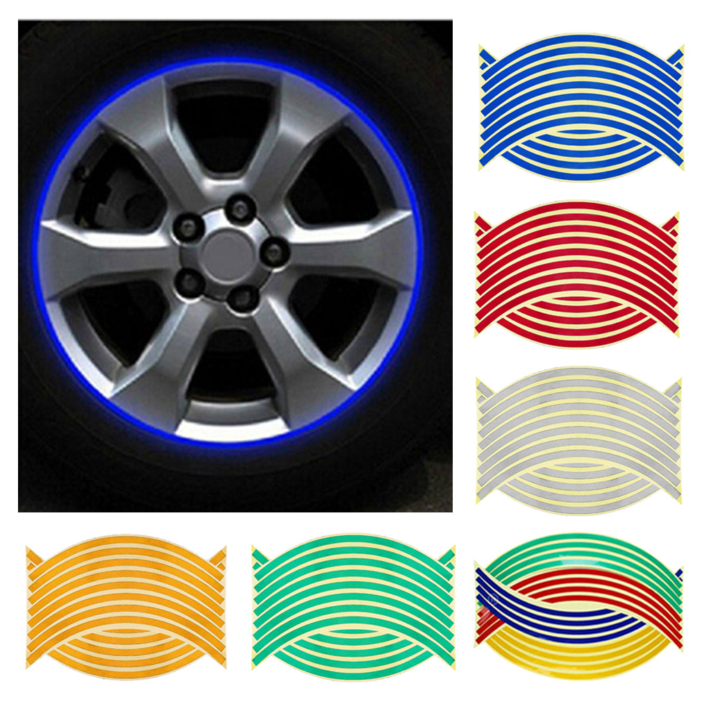 16pcs Reflective Rim Tape, Wheel Stripe Decal Trim For Motorcycle Wheels, (14/18inch), Multi-colors
