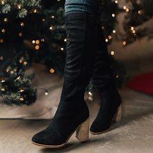 HEFLASHOR Artı Boyutu Moda Kadın Kış Uyluk Yüksek Çizmeler Faux Süet Deri Düz Yüksek Topuklu Kadın Diz Üzerinde Ayakkabı(China)