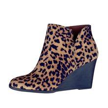 LITTHING kısa çizmeler kış kadın leopar yarım çizmeler Lace Up ayakkabı platformu yüksek topuklu takozlar ayakkabı kadın Bota Feminina(China)