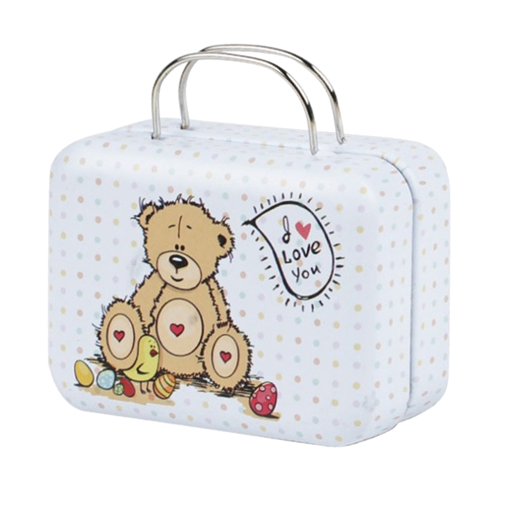 MagiDeal 1//6 1//4 Doll Metal Mini Suitcase Luggage Case with Bear Patterns