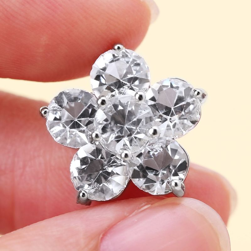 1Pc 15mm Glitter Double Layer Five Petals Flower Shape Decorative Buttons DIY