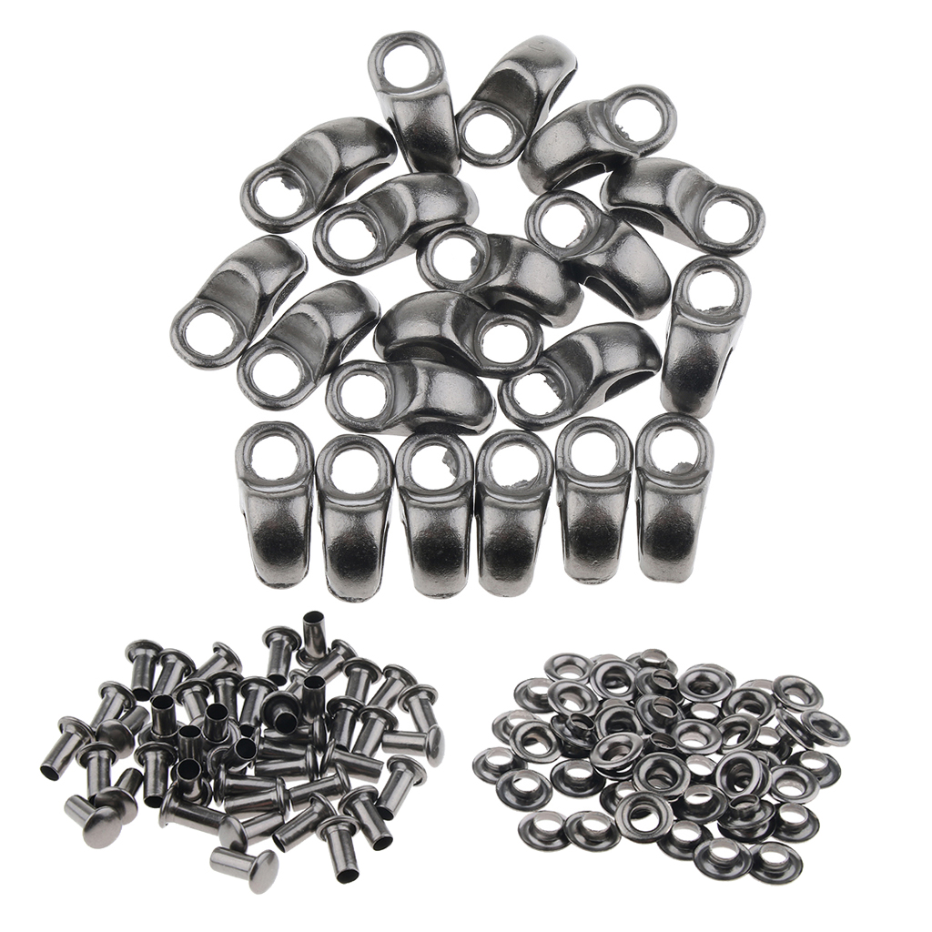 20x Shoe Lace Hook Fittings with Rivet Alloy Buckles for Mountaineering Boot