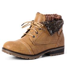 STQ 2020 yeni kış kadın yarım çizmeler ayakkabı hakiki deri Lace Up platformu çizmeler kadın sıcak peluş kar botları kadın 1802(China)