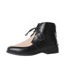 MCCKLE yarım çizmeler kadın platformu Lace Up toka ayakkabı kalın topuk kısa çizme bayanlar rahat ayakkabılar artı boyutu damla nakliye(China)