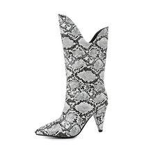 WETKISS Yılan Derisi Pu Çizmeler Kadınlar Yüksek Topuklu Başak kovboy çizmesi Kadın Sivri Burun Ayakkabı Bayanlar Orta Buzağı seksi ayakkabılar Kış 2020(China)