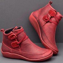 Frauen Winter Schnee Stiefel Nachahmung Leder Ankle Frühling Weiche Flache Schuhe Frau Kurze Braune Stiefel 2019 Für Frauen Slip- auf Stiefel(China)