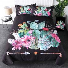 BeddingOutlet Tropical Cactus Bedding Set Succulents Duvet Cover Set Green Plant Flower Bed Cover Arrow Botanical Home Textile(China)