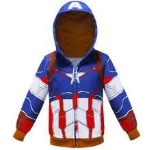 Детские толстовки с капюшоном «Железный человек» и «Капитан Америка» толстовка для мальчиков пальто «Человек-паук» Детская верхняя одежда...(China)