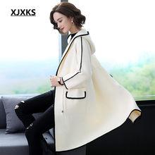 XJXKS Donne cappotto di lana 2020 della molla di nuovo modo con cappuccio allentato più il formato confortevole cashmere cappotto lungo delle donne del cardigan(China)