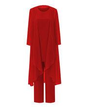 Traje de manga larga hasta el té chaqueta 3 piezas Madre de la novia traje pantalón trajes de gasa para mujer Simple azul sólido conjunto(China)