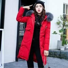 2020 新冬付きの上着ファッションソリッド毛皮の襟厚く暖かいロングジャケット女性ポケットジッパーパーカーコート M-3XL(China)