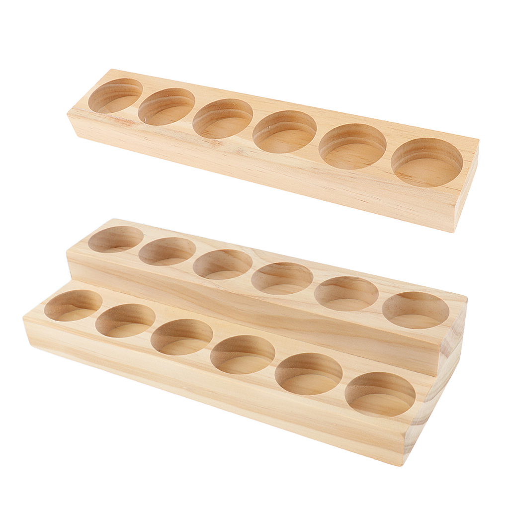 2 Pieces 18 Slots Wood Essential Oils Display Rack Wooden Organizer Holder for 15ml Bottles Vial Containers - NO MESS