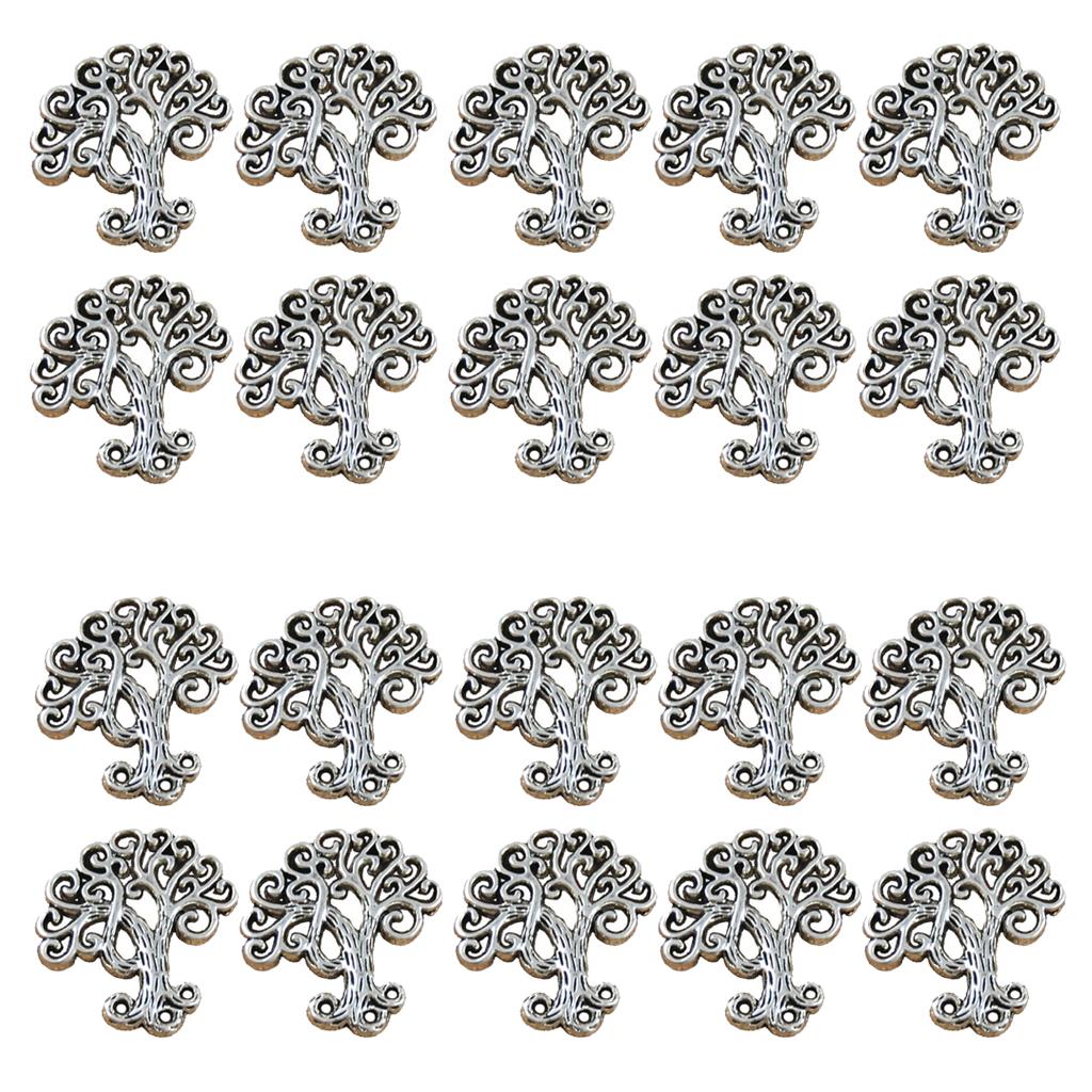 20 Pieces Zinc Alloy Tree Design Charm Antique Silver Charm DIY Necklace Pendant