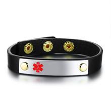 Medyczna bransoletka ID spersonalizowana cukrzyca bransoletka snap Leather Warp cukrzycowa bransoletka dla kobiet mężczyzn regulowana 6.3 cala do 7.6 cala(China)