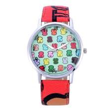 חדש אופנה מותג שעונים נשים עור קוורץ שעוני יד שעון גבירותיי דוב שעונים נשים שעונים relojes Feminino Hodinky(China)