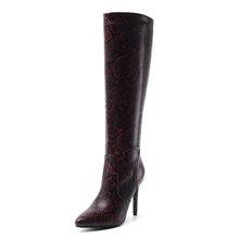 WETKISS Yılan Derisi Pu Çizmeler Kadın Diz Yüksek Çizme Kadın Seksi Yüksek Topuklu Ayakkabılar Bayanlar Sivri Burun parti ayakkabıları Kadın Kış 2020(China)