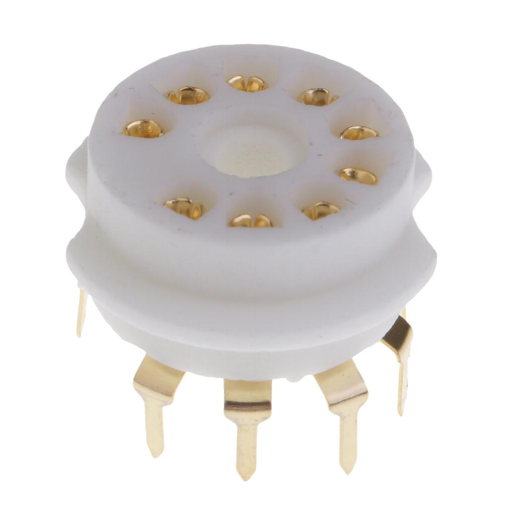GZC9-B-G 9pin  White Ceramics Gold Plated Vacuum Tube Socket GZC9-B-G For 12AX7,12AT7,12AU7,ECC83,ECC82,E88CC, 6922 ,6p1