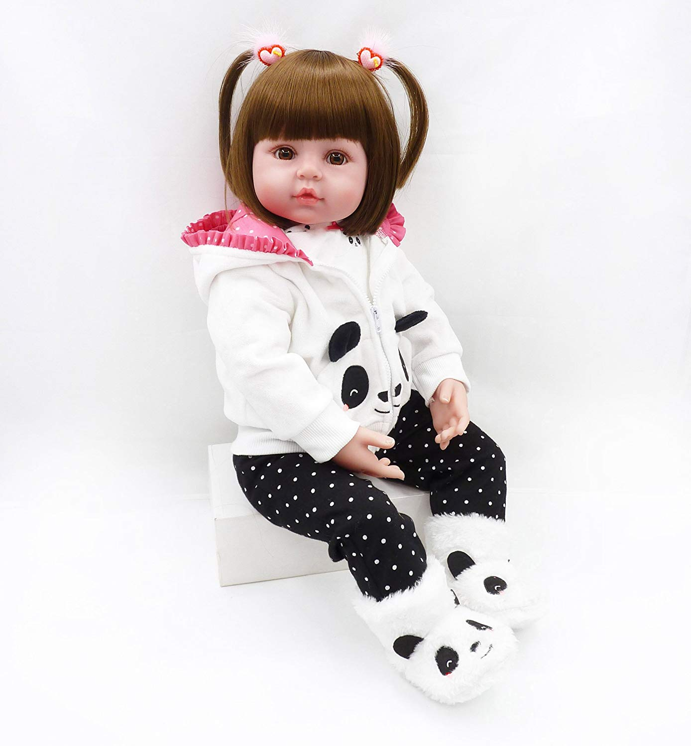 Medylove Reborn Baby Doll Clothes Panda Outfit Set for 17-18 inch Reborn Doll Girl Matching Clothes Accessories 4pcs