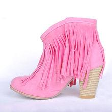 Artı boyutu 48 siyah kahverengi pembe püsküller yüksek topuklu kadın ayakkabı kadın 2020 batı çizmeler Vintage saçak yarım çizmeler(China)